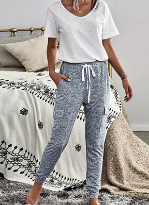 V-Neckline Color Block Pockets Loungewear (146723135)