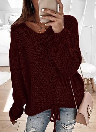 V-Neckline Solid Casual Loose Regular A-line Sweaters (6211527)
