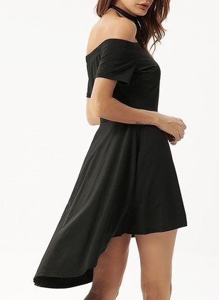 Solid Ruffles Skater High Low A-line Dress