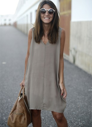 Solid Tank V-Neckline Sleeveless Shift Dress