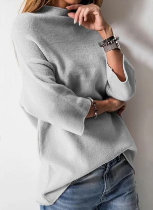 High Neckline Solid Casual Loose Regular Shift Sweaters (100038442)