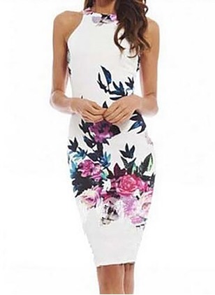 Nylon Floral Sleeveless Above Knee Dresses