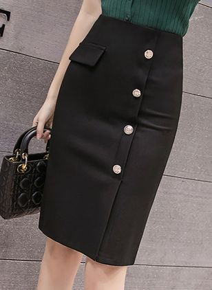 Solid Knee-Length Casual Buttons Skirts