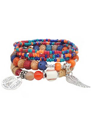 Casual Round No Stone Beaded Bracelets (146934098)