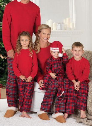 Family Look Plaid Casual Long Sleeve Family Outfits (146700137)