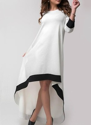 Cotton Color Block Long Sleeve High Low Dresses