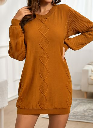 Casual Solid Sweater Round Neckline Bodycon Dress (146794939)