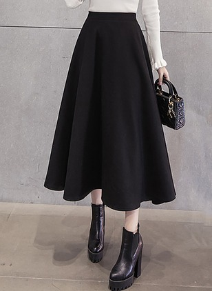 Polyester Solid Mid-Calf Casual Ruffles Skirts