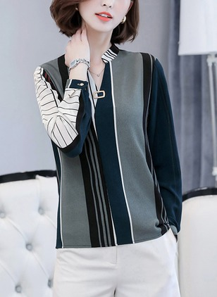 Stripe Casual Cotton V-Neckline Long Sleeve Blouses