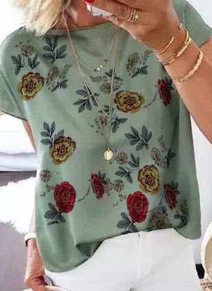 Floral Round Neck Short Sleeve Casual T-shirts (4135314)