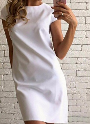 Solid Cap Sleeve Shift Dress