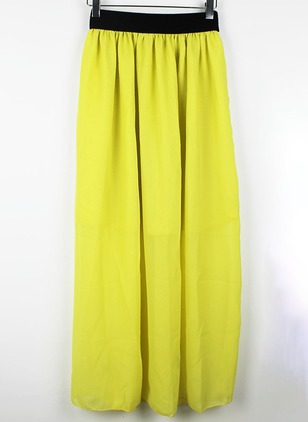 Polyester Solid Maxi Casual Skirts
