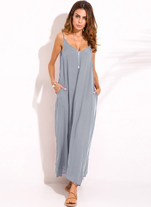 Solid Slip Halter Neckline Maxi Sheath Dress