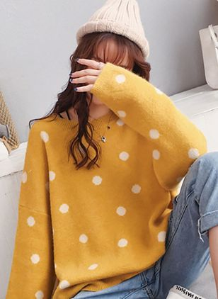 Round Neckline Polka Dot Oversized Loose Long Shift Sweaters Sweaters