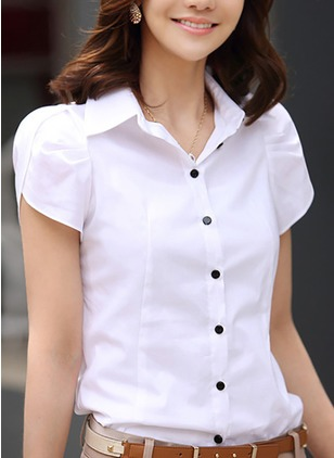 Solid Casual Polyester Collar Short Sleeve Blouses
