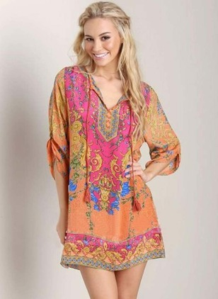 Floral Tassel 3/4 Sleeves Above Knee Shift Dress
