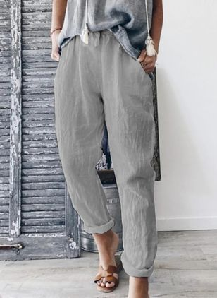 Casual Straight Mid Waist Cotton Pants (147091298)