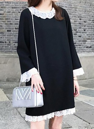 Cotton Solid Lace Long Sleeve Shift Dress