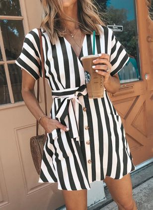 Stripe Sashes Skater V-Neckline X-line Dress