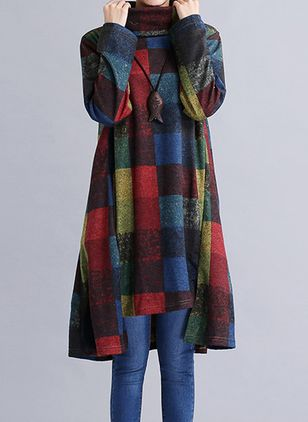 Casual Plaid Tunic High Neckline A-line Dress (107520717)