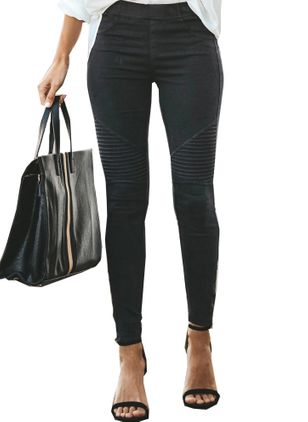 Casual Skinny Mid Waist Cotton Blends Leggings (1428253)