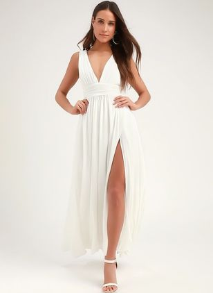 Solid Sleeveless Maxi X-line Dress