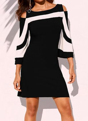 Chic Color Block Round Neckline Above Knee X-line Dress (4864855)