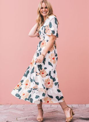 Floral Ruffles Short Sleeve Midi X-line Dress