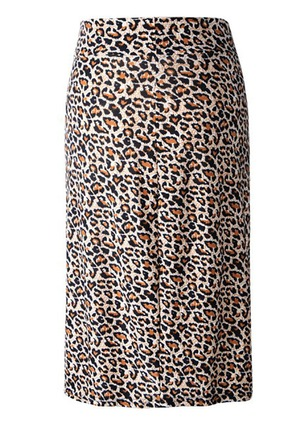 Polyester Leopard Knee-Length Casual Zipper Skirts