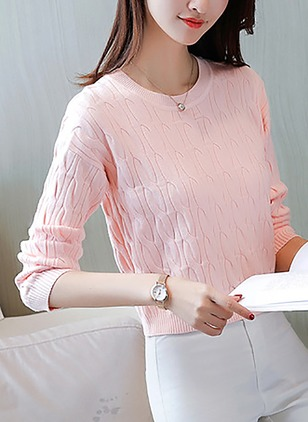 Round Neckline Solid Loose None Sweaters
