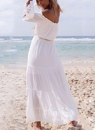 Solid Lace Peasant Boat Neckline Maxi Dress