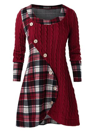 Elegant Plaid Skater Round Neckline X-line Dress (146799277)