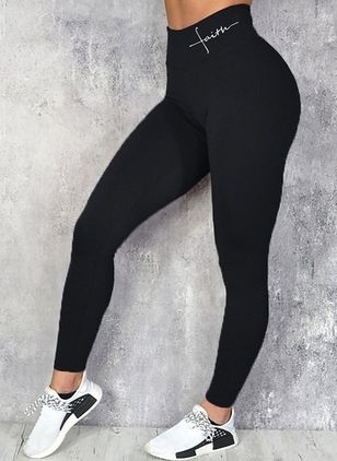 Casual Skinny High Waist Polyester Leggings (146812492)