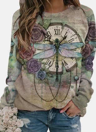 Animal Round Neck Long Sleeve Casual T-shirts (147005956)