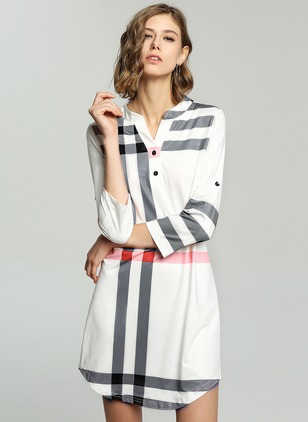 Polyester Stripe Long Sleeve Above Knee Dresses