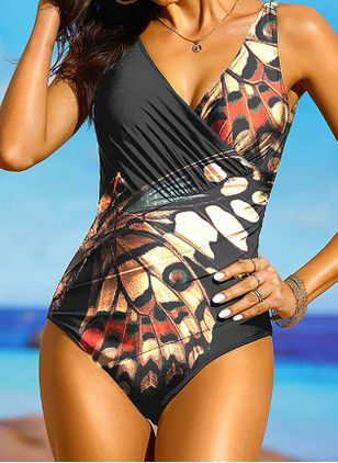 Plus Size One-piece Polyester High Waist Floral Plus Swimwear (1513081)