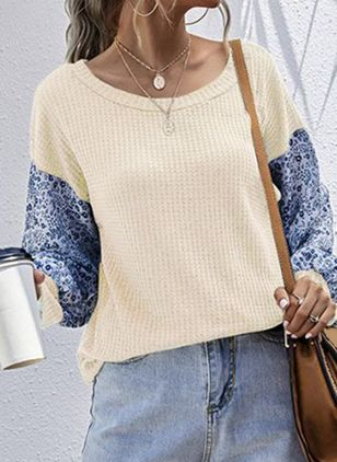 Round Neckline Floral Elegant Loose Regular Shift Sweaters (107561658)