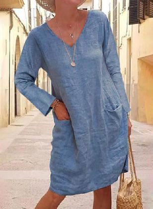 Casual Solid Tunic V-Neckline A-line Dress (100772658)