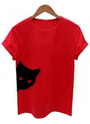 Animal Round Neck Short Sleeve Casual T-shirts (1505450)