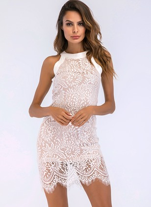 Solid Lace Pencil Sleeveless Bodycon Dress