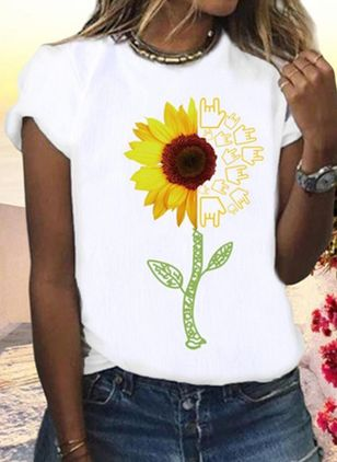 Floral Round Neck Short Sleeve Casual T-shirts (4101268)
