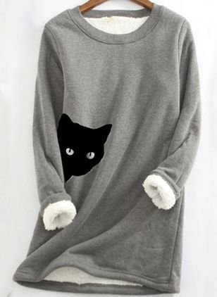 Animal Round Neck Long Sleeve Casual T-shirts (146891566)