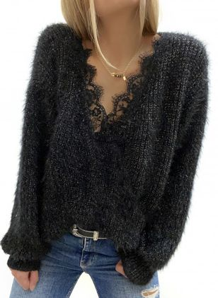 V-Neckline Solid Casual Regular Lace Sweaters (146662563)