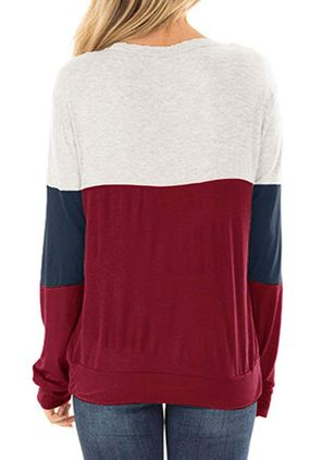 Color Block Round Neck Long Sleeve Casual T-shirts (1430495)