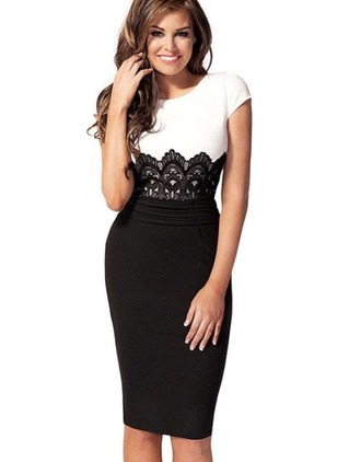 Floral Lace Pencil Knee-Length Bodycon Dress