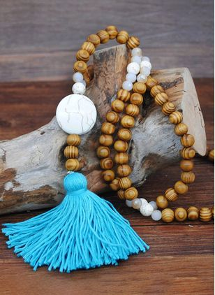 Casual Tassel Geometric Gemstone Pendant Necklaces (104147732)