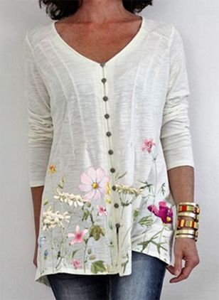 Floral V-Neckline Long Sleeve Summer T-shirts (104917850)