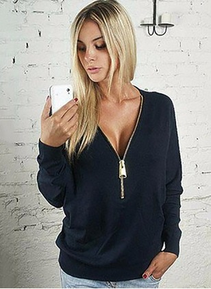 V-Neckline Solid Loose Ruffles Others Sweaters