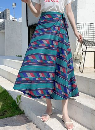 Color Block Mid-Calf Casual Sashes Skirts (4135591)