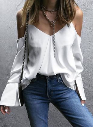 Solid Sexy Camisole Neckline Long Sleeve Blouses